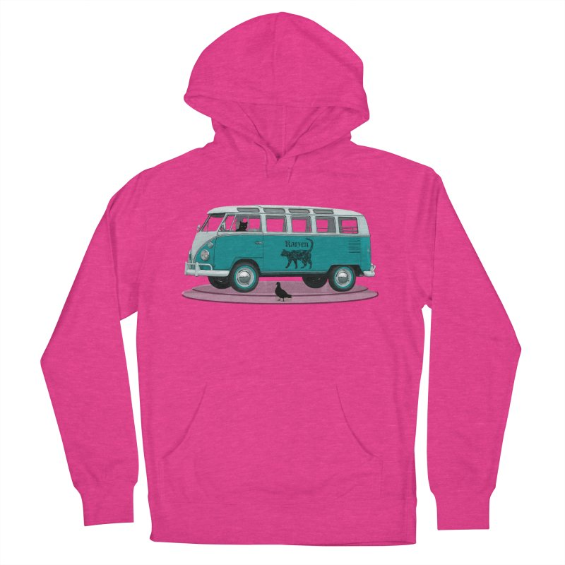Katzen and the Pigeon Black Cat Hippie Van German Katzen Blue Microbus Women's French Terry Pullover Hoody by Fringe Walkers Shirts n Prints