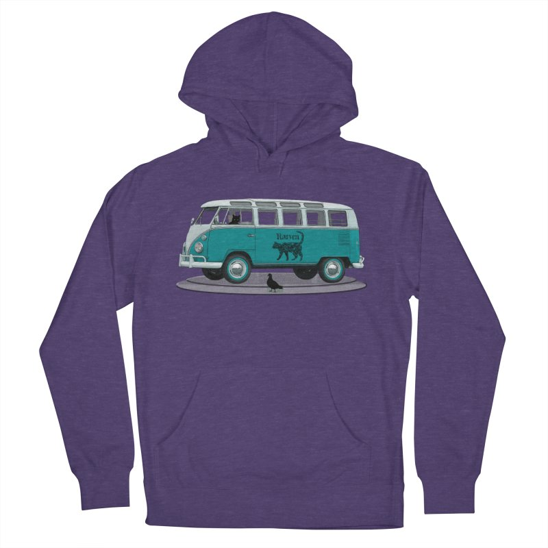 Katzen and the Pigeon Black Cat Hippie Van German Katzen Blue Microbus Men's French Terry Pullover Hoody by Fringe Walkers Shirts n Prints