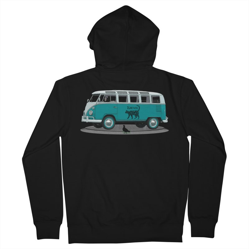 Katzen and the Pigeon Black Cat Hippie Van German Katzen Blue Microbus Women's French Terry Zip-Up Hoody by Fringe Walkers Shirts n Prints