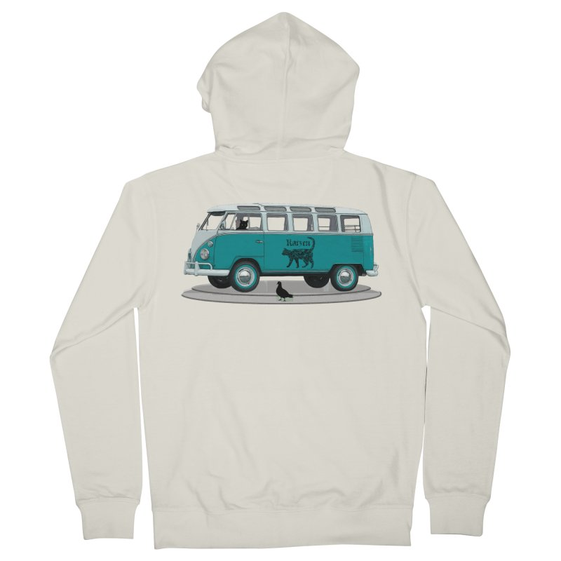 Katzen and the Pigeon Black Cat Hippie Van German Katzen Blue Microbus Women's Zip-Up Hoody by Fringe Walkers Shirts n Prints