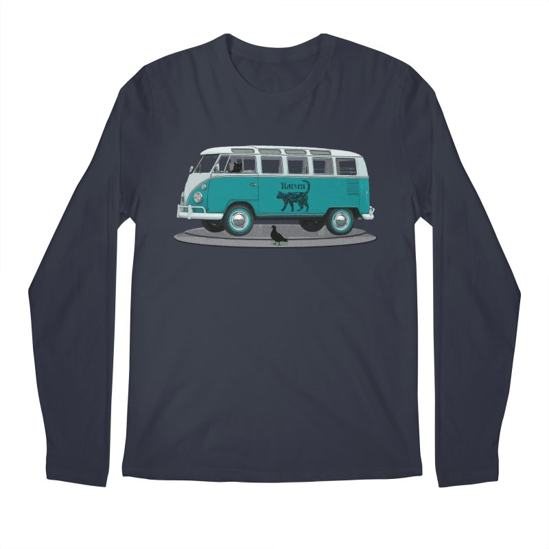 Katzen and the Pigeon Black Cat Hippie Van German Katzen Blue Microbus Men's Regular Longsleeve T-Shirt by Fringe Walkers Shirts n Prints