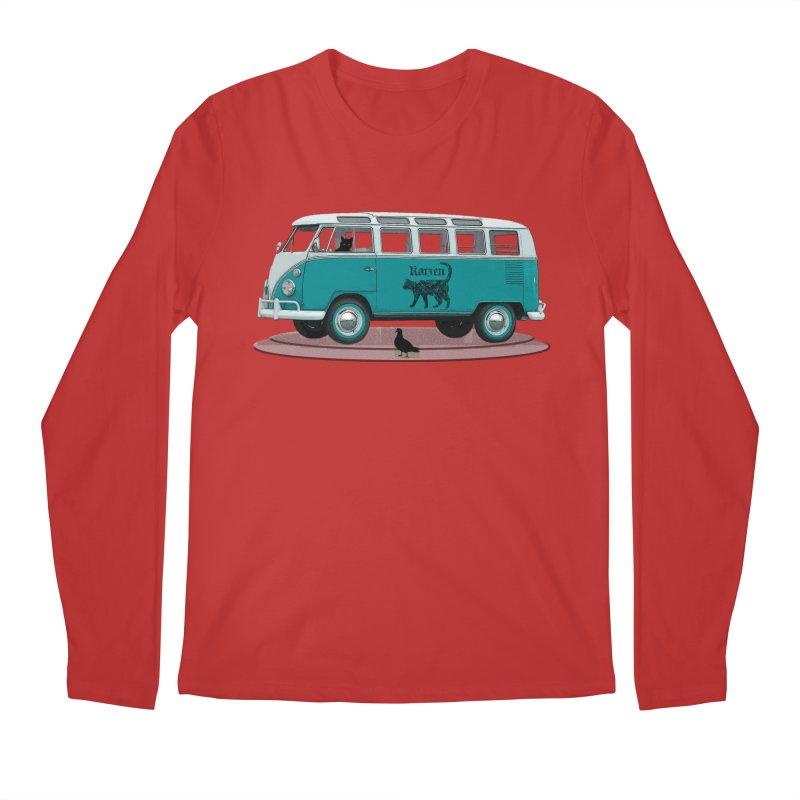 Katzen and the Pigeon Black Cat Hippie Van German Katzen Blue Microbus Men's Regular Longsleeve T-Shirt by Fringe Walkers Shirts n Prints