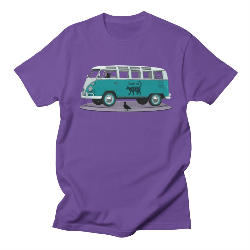 Katzen and the Pigeon Black Cat Hippie Van German Katzen Blue Microbus Men's Regular T-Shirt by Fringe Walkers Shirts n Prints