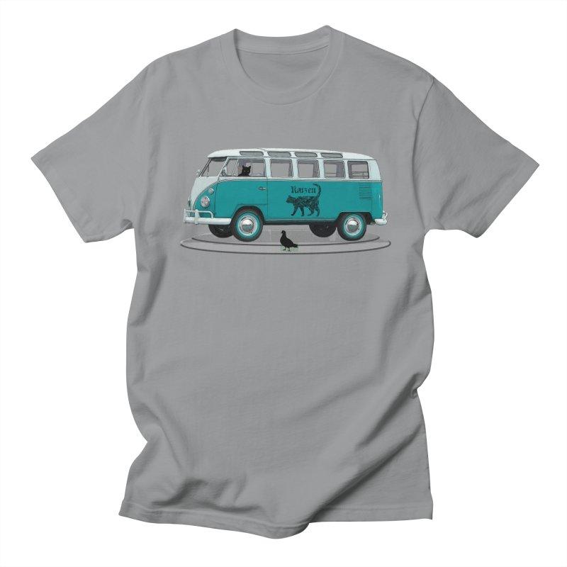 Katzen and the Pigeon Black Cat Hippie Van German Katzen Blue Microbus Men's Regular T-Shirt by Fringe Walkers Shirts n Prints
