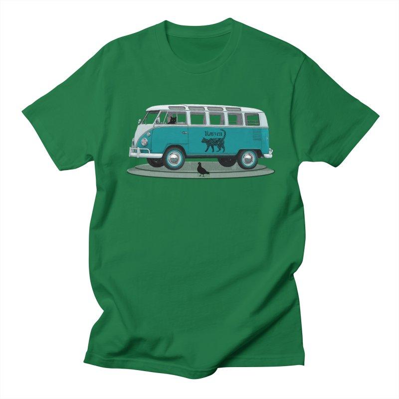 Katzen and the Pigeon Black Cat Hippie Van German Katzen Blue Microbus Men's T-Shirt by Fringe Walkers Shirts n Prints