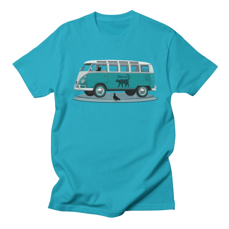 Katzen and the Pigeon Black Cat Hippie Van German Katzen Blue Microbus Women's Regular Unisex T-Shirt by Fringe Walkers Shirts n Prints