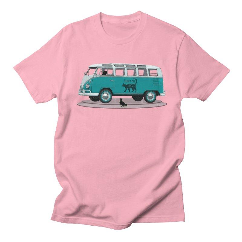 Katzen and the Pigeon Black Cat Hippie Van German Katzen Blue Microbus Women's Regular Unisex T-Shirt by Fringe Walkers Shirts n Prints