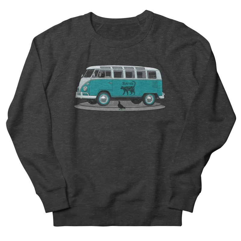 Katzen and the Pigeon Black Cat Hippie Van German Katzen Blue Microbus Women's French Terry Sweatshirt by Fringe Walkers Shirts n Prints