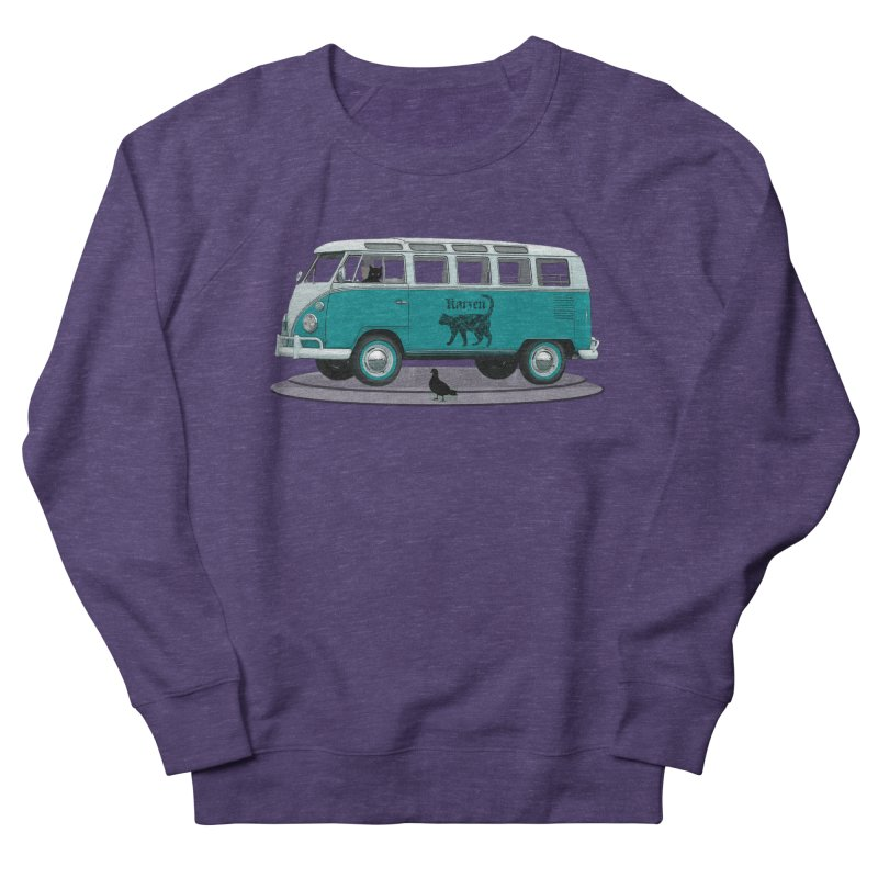 Katzen and the Pigeon Black Cat Hippie Van German Katzen Blue Microbus Women's Sweatshirt by Fringe Walkers Shirts n Prints