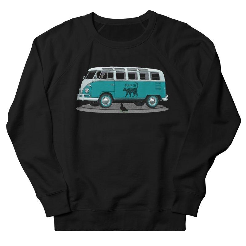 Katzen and the Pigeon Black Cat Hippie Van German Katzen Blue Microbus Women's Sweatshirt by Fringe Walkers Shirts n Prints