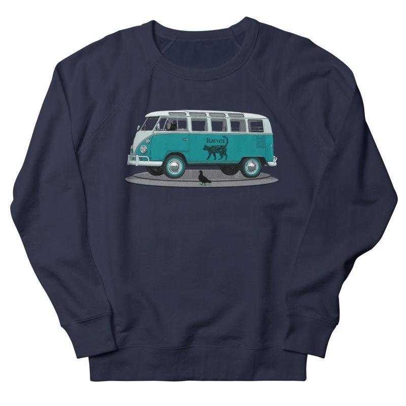 Katzen and the Pigeon Black Cat Hippie Van German Katzen Blue Microbus Women's French Terry Sweatshirt by Fringe Walkers Shirts n Prints
