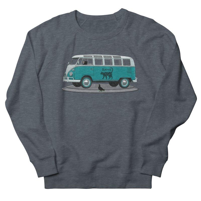 Katzen and the Pigeon Black Cat Hippie Van German Katzen Blue Microbus Men's Sweatshirt by Fringe Walkers Shirts n Prints