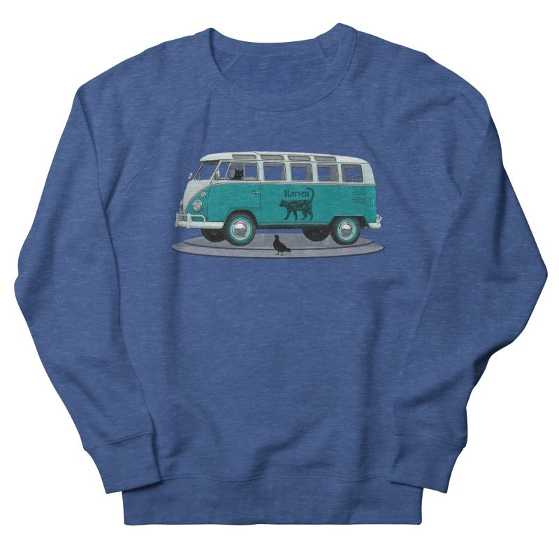 Katzen and the Pigeon Black Cat Hippie Van German Katzen Blue Microbus Men's French Terry Sweatshirt by Fringe Walkers Shirts n Prints