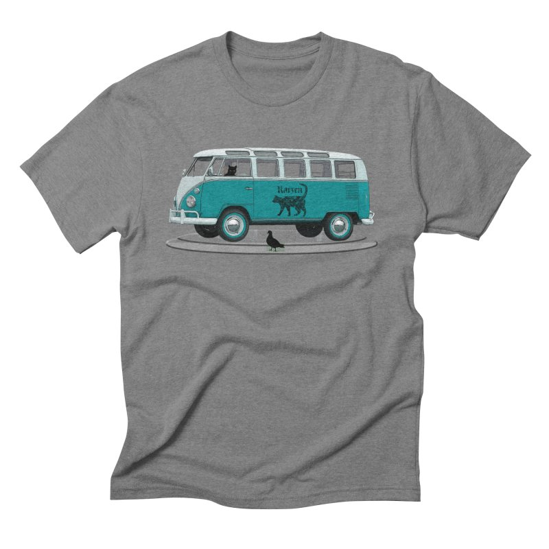 Katzen and the Pigeon Black Cat Hippie Van German Katzen Blue Microbus Men's Triblend T-Shirt by Fringe Walkers Shirts n Prints