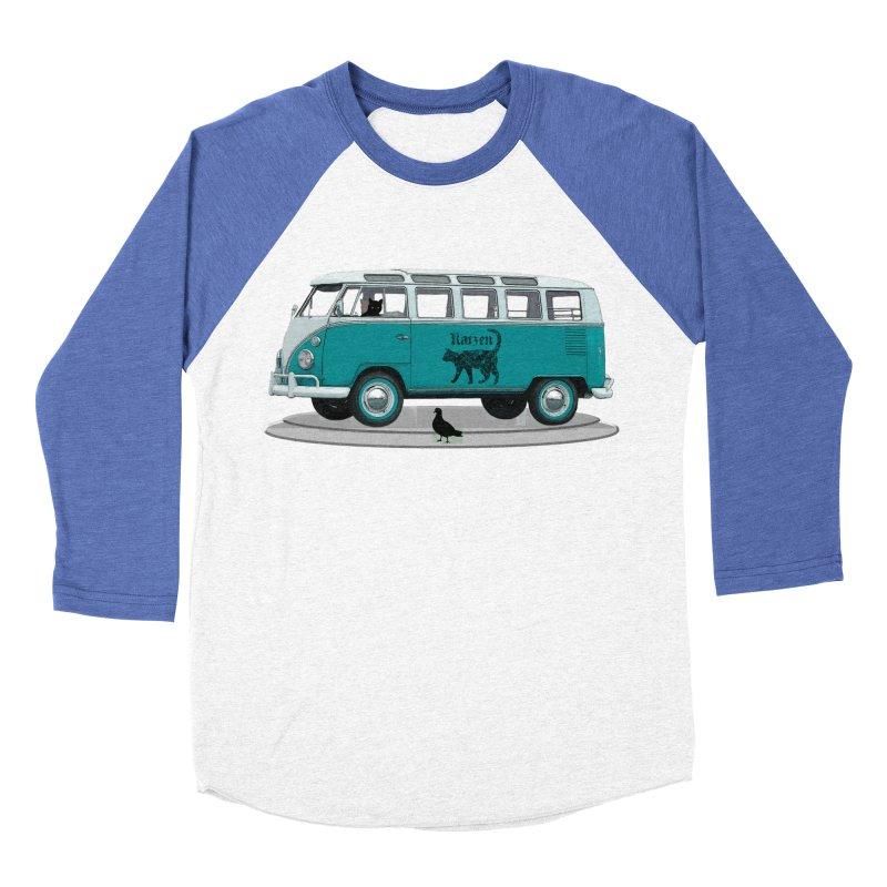 Katzen and the Pigeon Black Cat Hippie Van German Katzen Blue Microbus Women's Baseball Triblend T-Shirt by Fringe Walkers Shirts n Prints