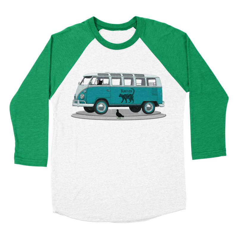 Katzen and the Pigeon Black Cat Hippie Van German Katzen Blue Microbus Women's Baseball Triblend Longsleeve T-Shirt by Fringe Walkers Shirts n Prints