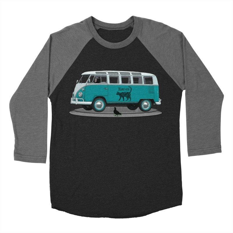 Katzen and the Pigeon Black Cat Hippie Van German Katzen Blue Microbus Men's Baseball Triblend Longsleeve T-Shirt by Fringe Walkers Shirts n Prints