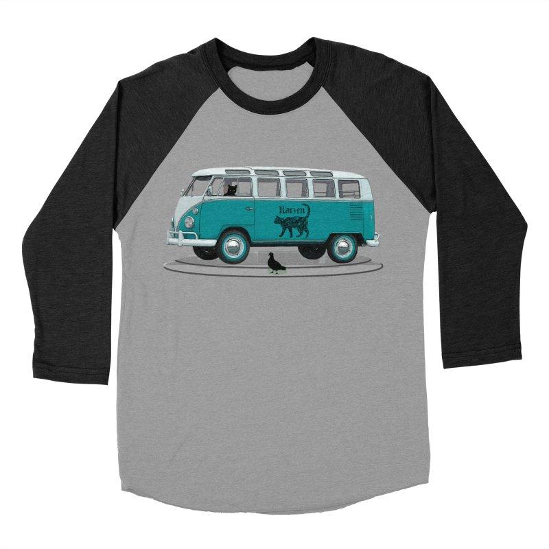 Katzen and the Pigeon Black Cat Hippie Van German Katzen Blue Microbus Men's Baseball Triblend T-Shirt by Fringe Walkers Shirts n Prints