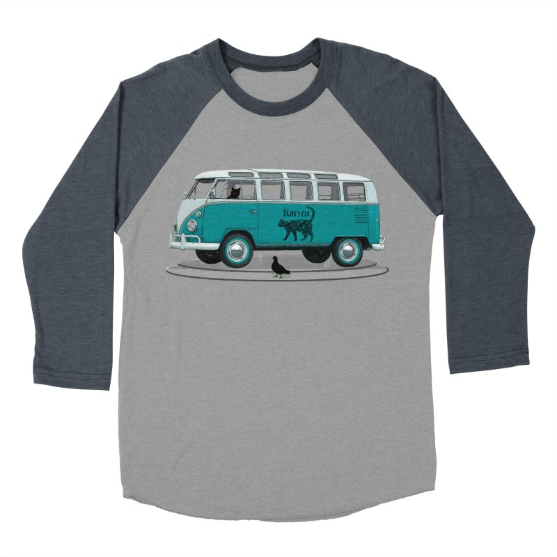 Katzen and the Pigeon Black Cat Hippie Van German Katzen Blue Microbus Men's Baseball Triblend Longsleeve T-Shirt by Fringe Walkers Shirts n Prints