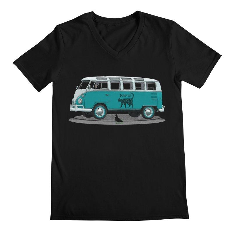 Katzen and the Pigeon Black Cat Hippie Van German Katzen Blue Microbus Men's Regular V-Neck by Fringe Walkers Shirts n Prints