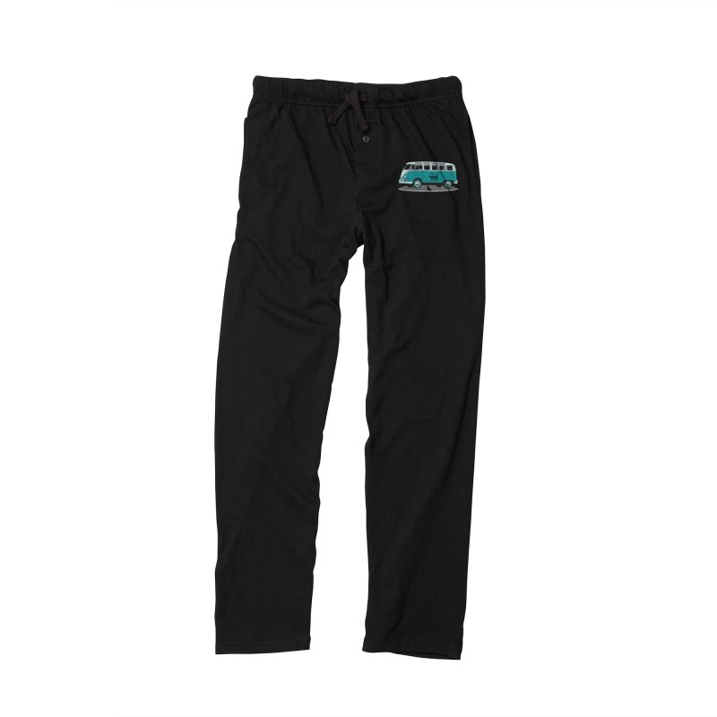 Katzen and the Pigeon Black Cat Hippie Van German Katzen Blue Microbus Men's Lounge Pants by Fringe Walkers Shirts n Prints