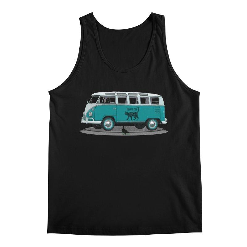 Katzen and the Pigeon Black Cat Hippie Van German Katzen Blue Microbus Men's Regular Tank by Fringe Walkers Shirts n Prints