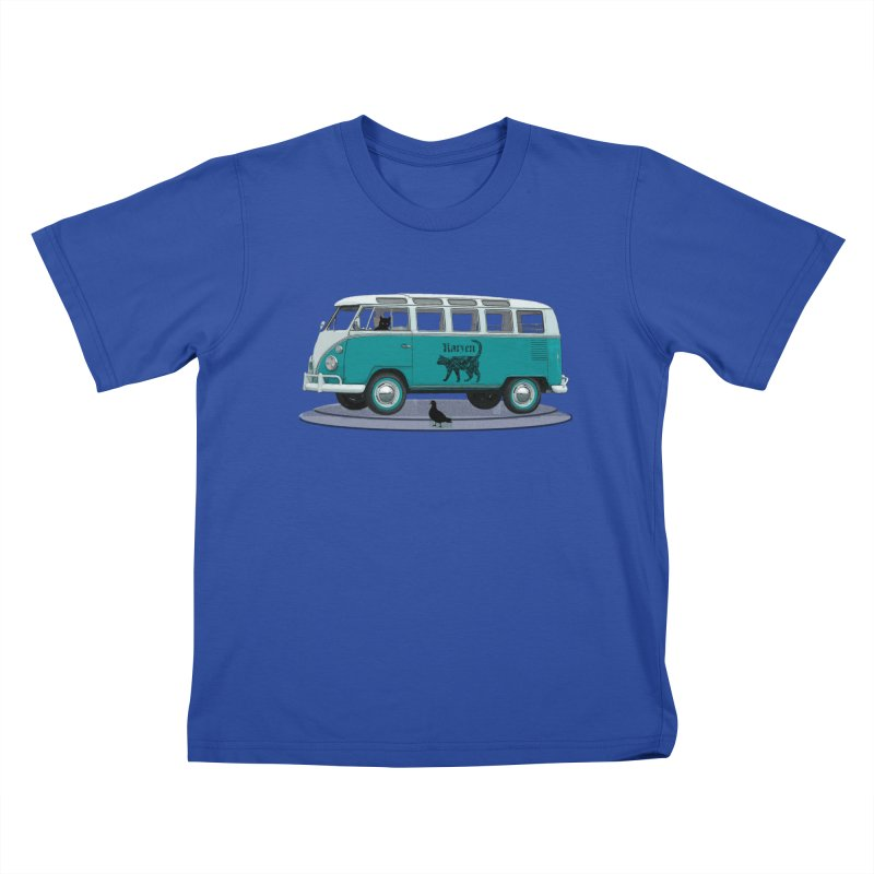 Katzen and the Pigeon Black Cat Hippie Van German Katzen Blue Microbus Kids T-Shirt by Fringe Walkers Shirts n Prints