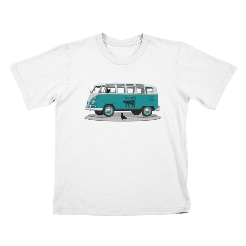 Katzen and the Pigeon Black Cat Hippie Van German Katzen Blue Microbus Kids T-Shirt by Fringe Walkers Shirts n Prints
