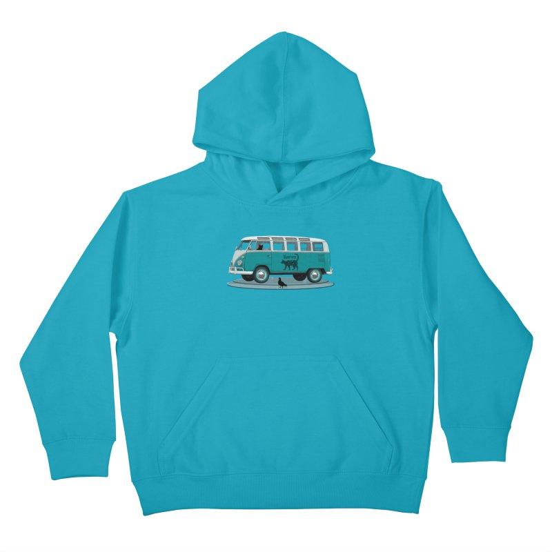 Katzen and the Pigeon Black Cat Hippie Van German Katzen Blue Microbus Kids Pullover Hoody by Fringe Walkers Shirts n Prints