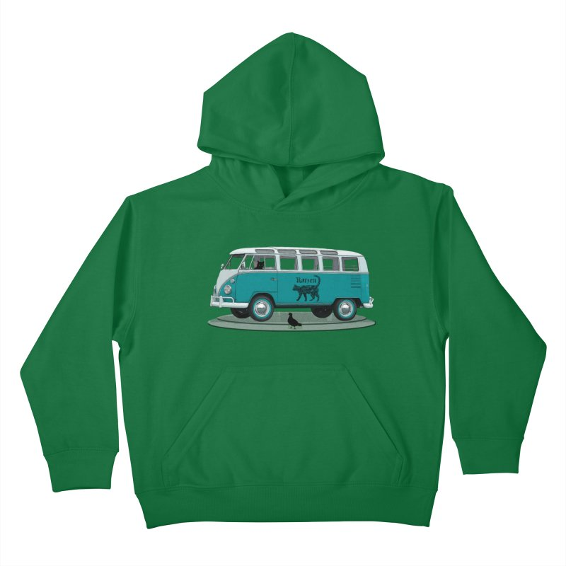 Katzen and the Pigeon Black Cat Hippie Van German Katzen Blue Microbus Kids Pullover Hoody by Fringe Walkers Shirts n Prints