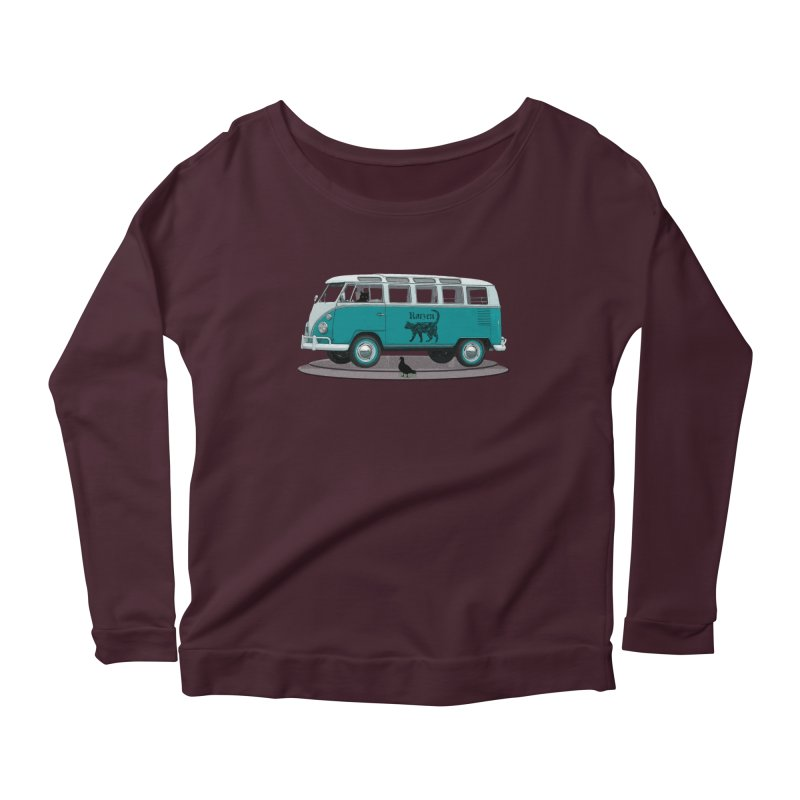 Katzen and the Pigeon Black Cat Hippie Van German Katzen Blue Microbus Women's Longsleeve T-Shirt by Fringe Walkers Shirts n Prints