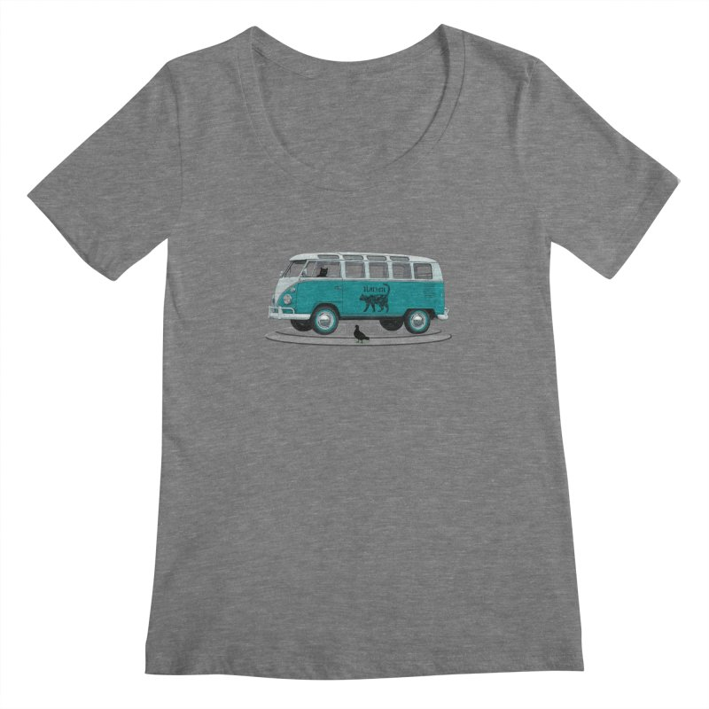Katzen and the Pigeon Black Cat Hippie Van German Katzen Blue Microbus Women's Regular Scoop Neck by Fringe Walkers Shirts n Prints