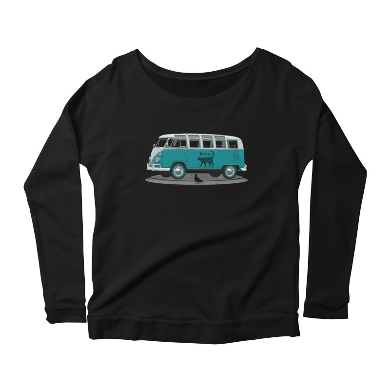 Katzen and the Pigeon Black Cat Hippie Van German Katzen Blue Microbus Women's Longsleeve Scoopneck  by Fringe Walkers Shirts n Prints