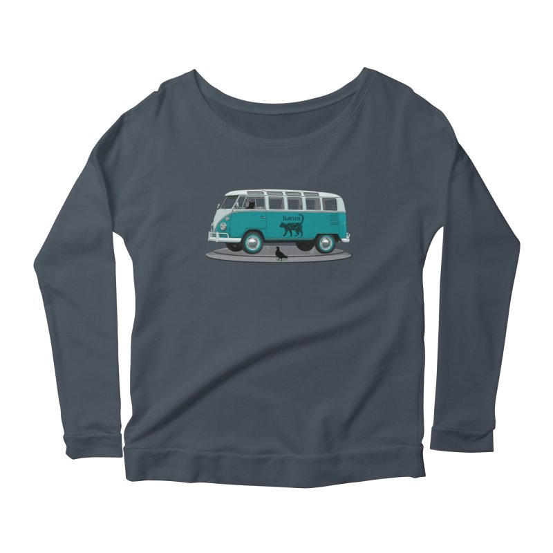 Katzen and the Pigeon Black Cat Hippie Van German Katzen Blue Microbus Women's Scoop Neck Longsleeve T-Shirt by Fringe Walkers Shirts n Prints