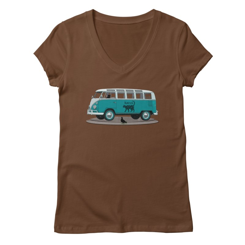 Katzen and the Pigeon Black Cat Hippie Van German Katzen Blue Microbus Women's Regular V-Neck by Fringe Walkers Shirts n Prints