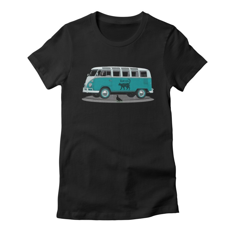 Katzen and the Pigeon Black Cat Hippie Van German Katzen Blue Microbus Women's Fitted T-Shirt by Fringe Walkers Shirts n Prints