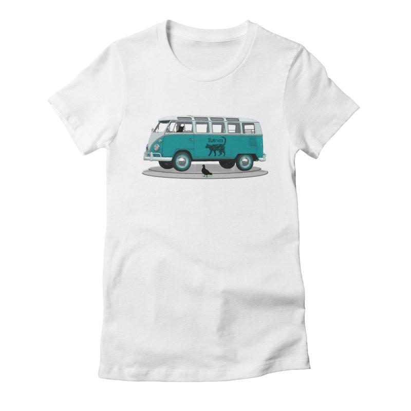 Katzen and the Pigeon Black Cat Hippie Van German Katzen Blue Microbus Women's Fitted T-Shirt by Fringe Walkers Shirts n Prints