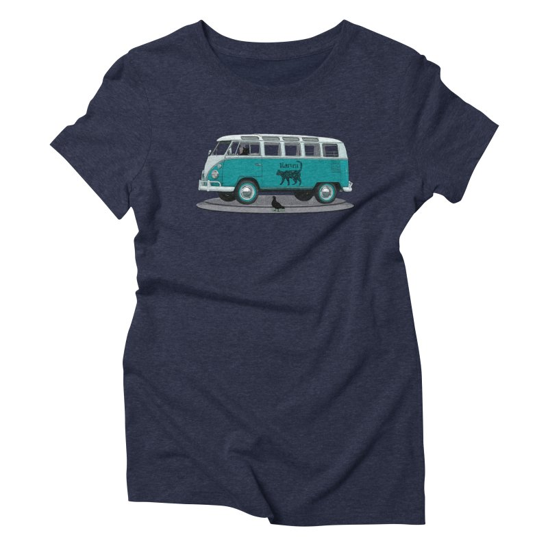Katzen and the Pigeon Black Cat Hippie Van German Katzen Blue Microbus Women's Triblend T-Shirt by Fringe Walkers Shirts n Prints