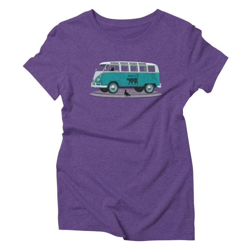 Katzen and the Pigeon Black Cat Hippie Van German Katzen Blue Microbus Women's Triblend T-Shirt by Fringe Walkers Shirts n Prints