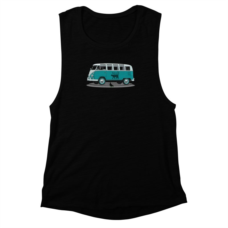 Katzen and the Pigeon Black Cat Hippie Van German Katzen Blue Microbus Women's Muscle Tank by Fringe Walkers Shirts n Prints
