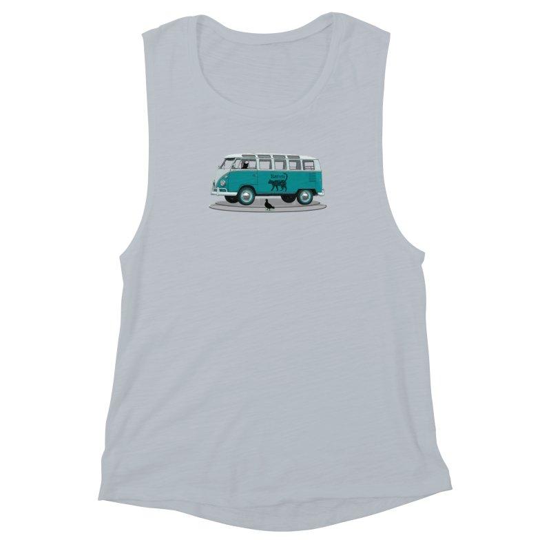 Katzen and the Pigeon Black Cat Hippie Van German Katzen Blue Microbus Women's Muscle Tank by Fringe Walkers Shirts n Prints