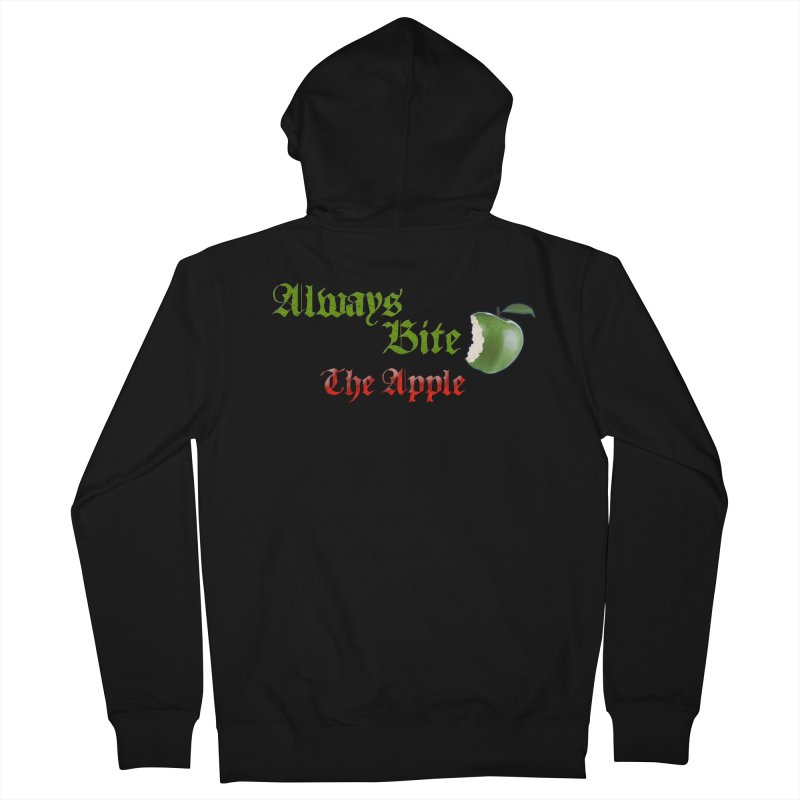 Always Bite The Apple Message of Knowledge & Spirituality Freedom Free Thinkers Awakening Religion Men's French Terry Zip-Up Hoody by Fringe Walkers Shirts n Prints