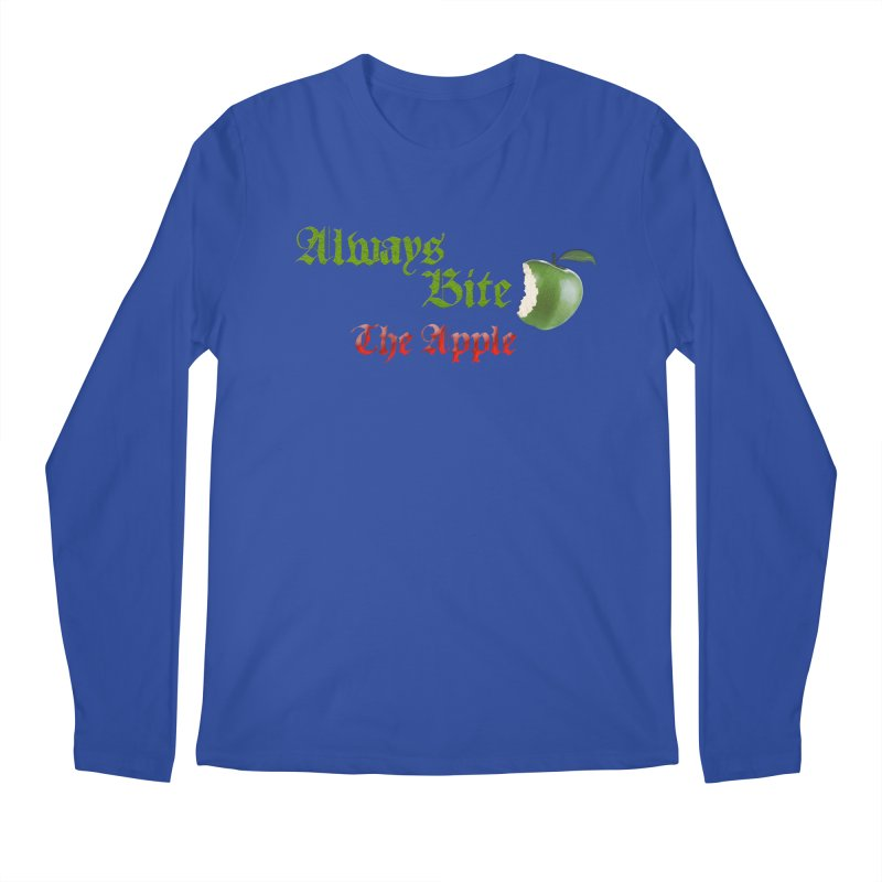 Always Bite The Apple Message of Knowledge & Spirituality Freedom Free Thinkers Awakening Religion Men's Regular Longsleeve T-Shirt by Fringe Walkers Shirts n Prints