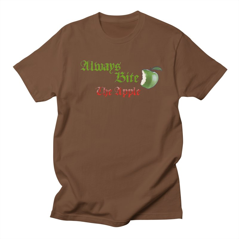Always Bite The Apple Message of Knowledge & Spirituality Freedom Free Thinkers Awakening Religion Men's Regular T-Shirt by Fringe Walkers Shirts n Prints