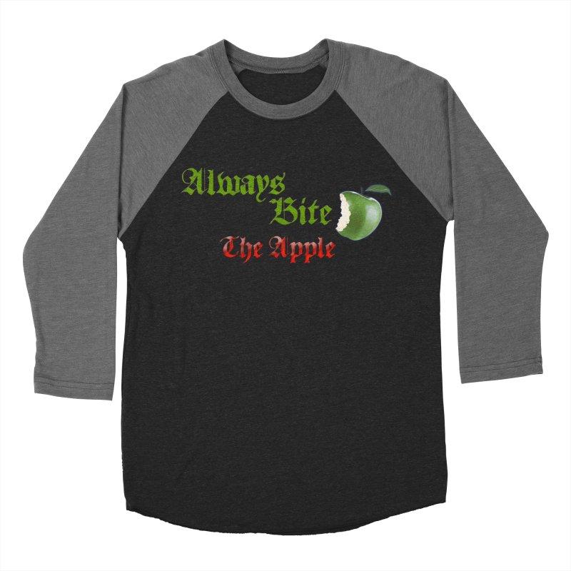 Always Bite The Apple Message of Knowledge & Spirituality Freedom Free Thinkers Awakening Religion Women's Baseball Triblend Longsleeve T-Shirt by Fringe Walkers Shirts n Prints