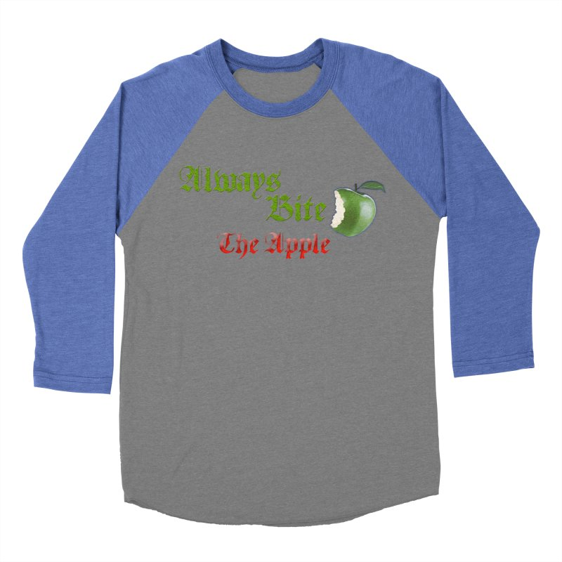 Always Bite The Apple Message of Knowledge & Spirituality Freedom Free Thinkers Awakening Religion Men's Baseball Triblend Longsleeve T-Shirt by Fringe Walkers Shirts n Prints