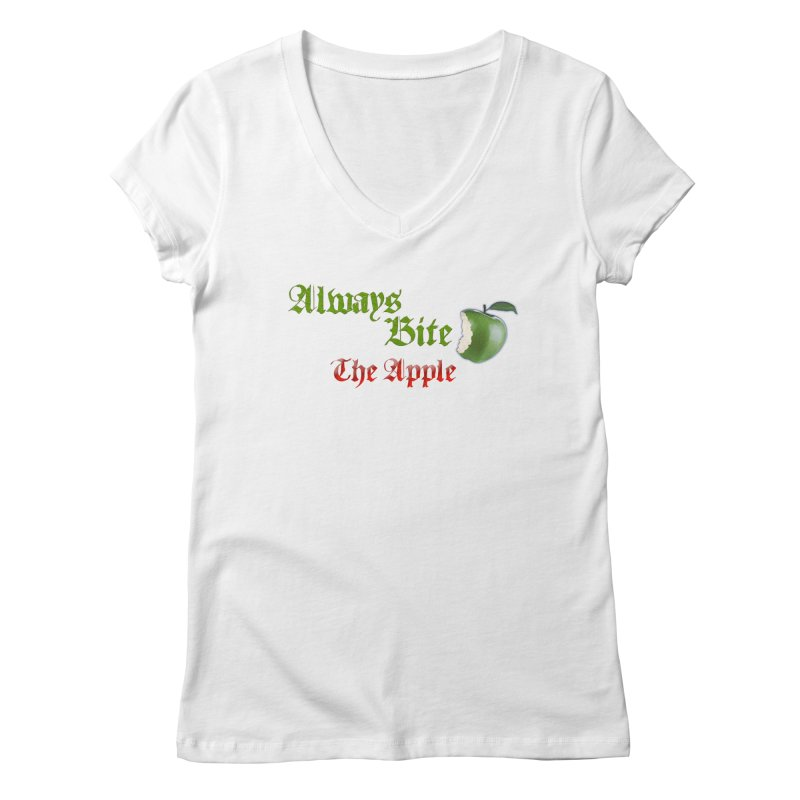 Always Bite The Apple Message of Knowledge & Spirituality Freedom Free Thinkers Awakening Religion Women's Regular V-Neck by Fringe Walkers Shirts n Prints