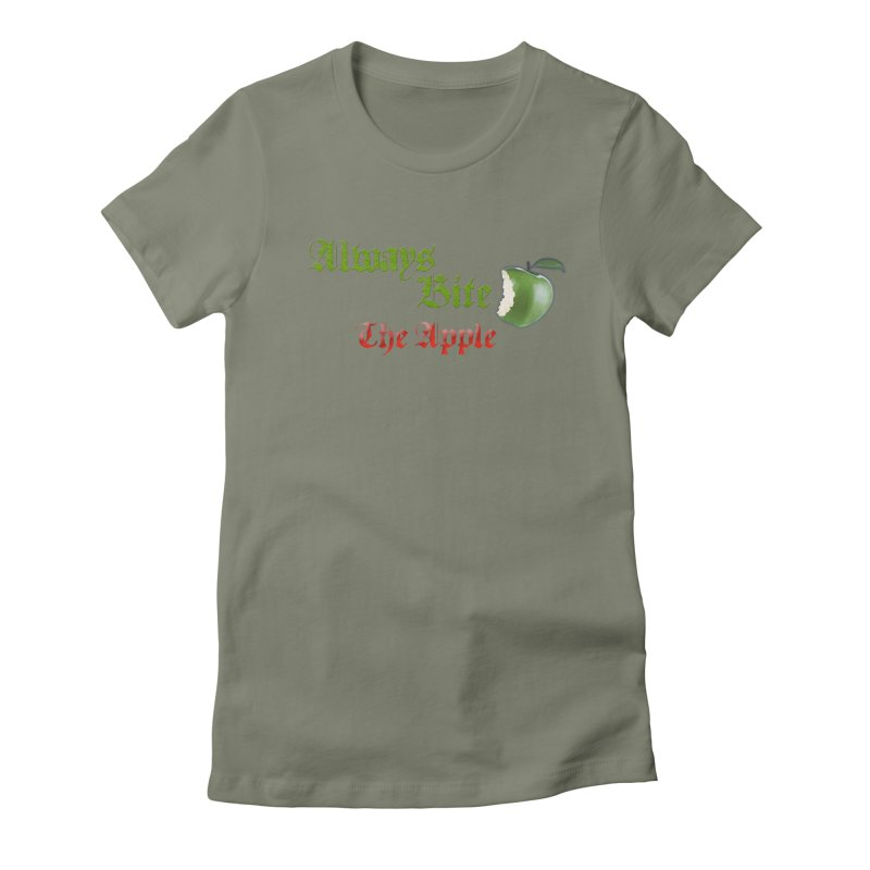 Always Bite The Apple Message of Knowledge & Spirituality Freedom Free Thinkers Awakening Religion Women's Fitted T-Shirt by Fringe Walkers Shirts n Prints