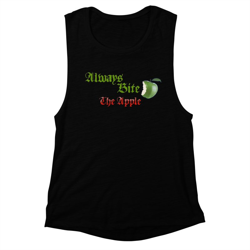 Always Bite The Apple Message of Knowledge & Spirituality Freedom Free Thinkers Awakening Religion Women's Muscle Tank by Fringe Walkers Shirts n Prints