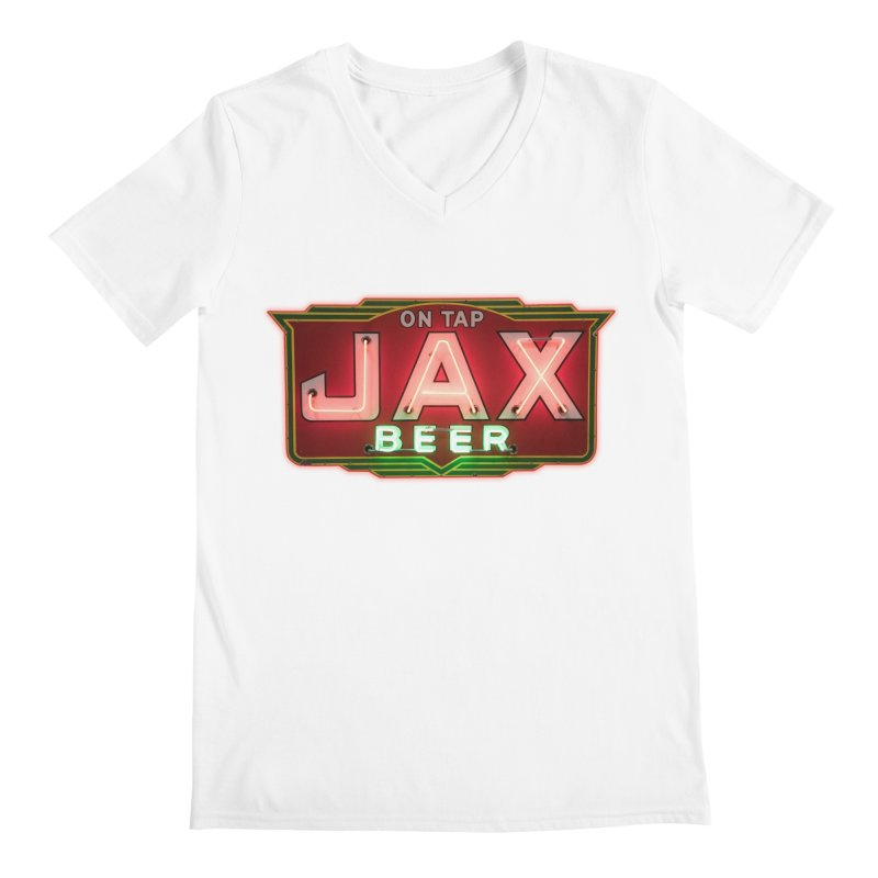 Jax Beer on Tap Vintage Neon Sign Jackson Brewery New Orleans Brewerania Men's V-Neck by Fringe Walkers Shirts n Prints
